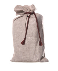 Textured brown sack isolated on white