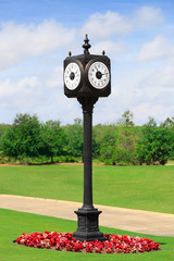 Outdoor Clock Post on green spring valley  in the park
