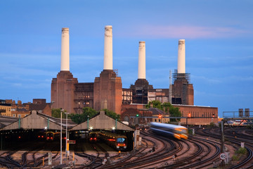 Battersea power plant and railway at Victoria station, London.
