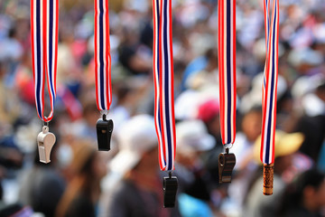 Whistles with Thailand  flag lanyard hanging for sale