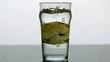 Lemon slice falling into pint of water
