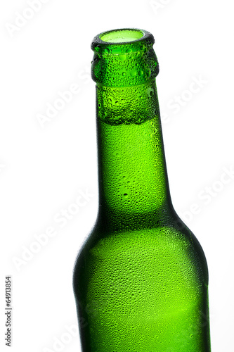 canvas print picture Cold beer bottle with dew drops