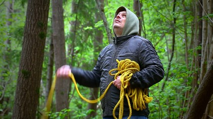 Man with noose in the  woods episode 1