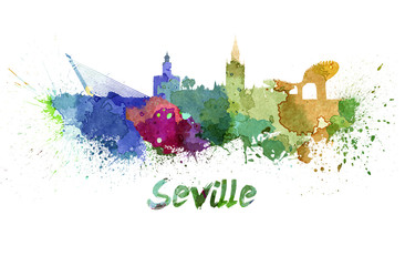 Seville skyline in watercolor