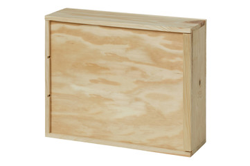 Wooden box for bottles of wine. White background