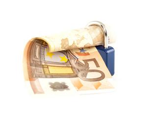Geldscheine und Vorhängeschloss