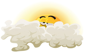Cartoon Asleep Sun Character