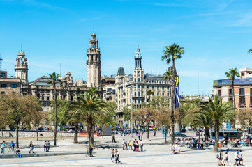 Promenade by port Vell in Barcelona, Spain.