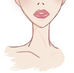 赤いリップの女性イラストイメージ