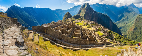 Fotobehang Oude gebouw Panorama of Mysterious city - Machu Picchu, Peru,South America