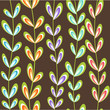 Cute spring floral seamless pattern in brown, green, blue