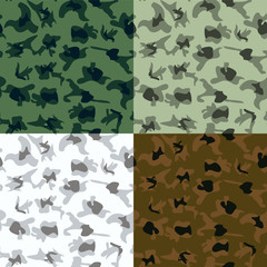 Vector Camouflage in 6 Colors - Illustration