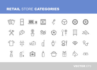 Retail store categories icons