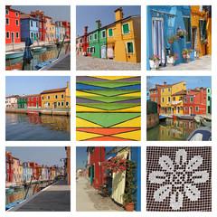 fantastic colorful landscape of Burano village - collage
