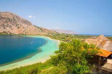 Freshwater lake in village Kavros in Crete  island, Greece.