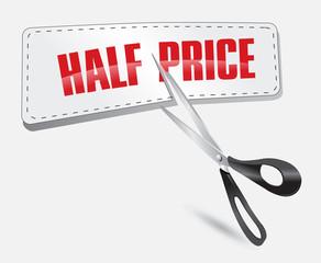 Half price sticker with scissors vector illustration