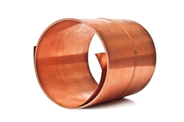 copper sheet rolled into a roll