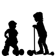 Kids with scooter and tricycle