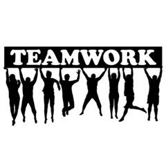 Teamwork concept with men and women jumping