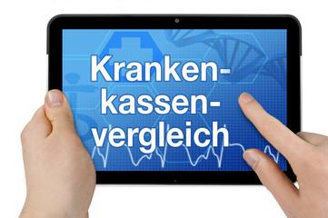 Tablet mit Interface und Krankenkassenvergleich