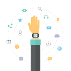 Smart watch features flat illustration concept