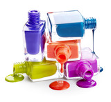 Fototapety Bottles with spilled nail polish