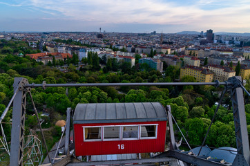 Vienna cityscape at sunset, a view from a giant wheel at Prater