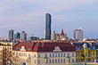 Vienna cityscape at sunset, contrast between modern and old