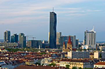Vienna skyline at sunset, contrast between modern and old