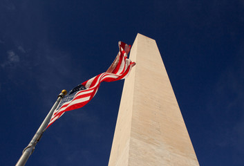 USA flag and Washington Monument