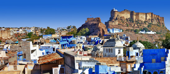 Blue city of Rajastan - Jodhpur, India. Panorama vith fort