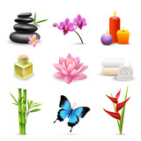 Fototapety Realistic spa icons