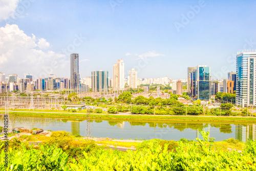 Leinwanddruck Bild View of Sao Paulo and the river, Brazil