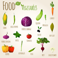 Food vegetables set