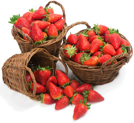 baskets with fresh strawberries