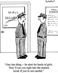 "Mall Security:  ""Be alert for herds of girls...."""