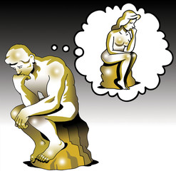 The thinker thinks of a woman