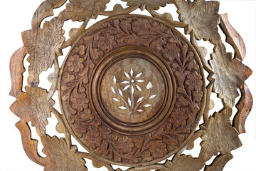 Ornate Pattern Carved on Wooden Coffee Table