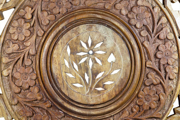Ornate Pattern Carved on Wood Coffee Table