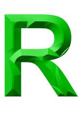 yeşil r harf tasarımı