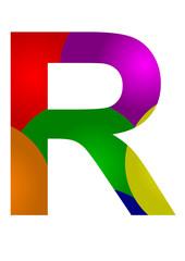 renkli r harf tasarımı