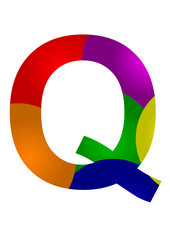 renkli q harf tasarımı
