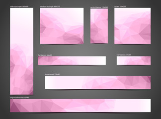 set of pink web banners