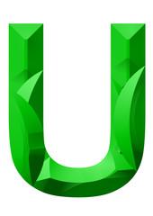 yeşil u harf tasarımı