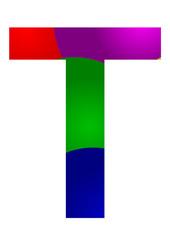 renkli t harf tasarımı