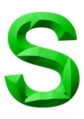 yeşil renkli s harf tasarımı