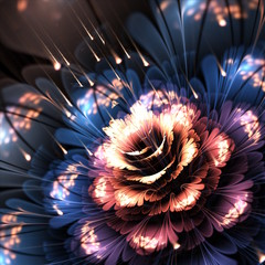 orange-blue fractal flower © Anikakodydkova