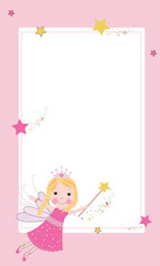 Cute fairy frame vector