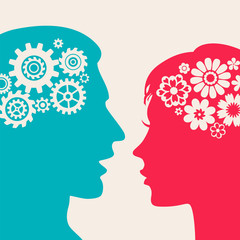 Two silhouettes - man with gears, woman with flowers