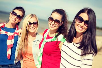 beautiful teenage girls having fun on the beach